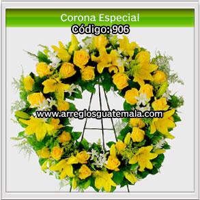 coronas bellas de flores en guatemala para enviar a funerales con mensaje de condolencias