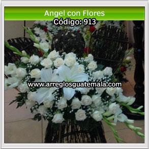 angel con flores al fallecer una persona que fue como un angel en la vida