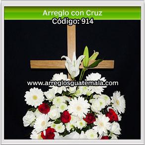 arreglos de flores con cruz para enviar a capillas funerarias en guatemala