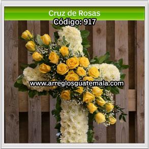 cruz de rosas para enviar a funerales en guatemala
