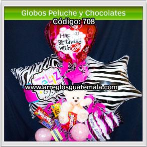 globos happy birthday con peluche y chocolates