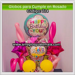 globos para cumpleaños en color rosado para persona especial con chocolates