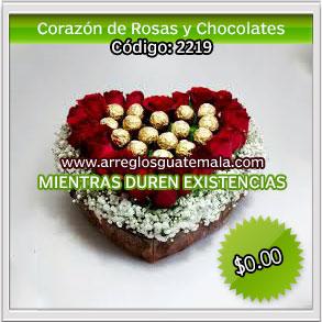 rosas con chocolates para dia del cariño