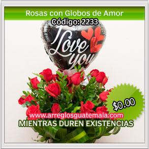 arreglos florales con globos de i love you