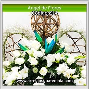 angel de flores naturales para dar pesame y condolencias