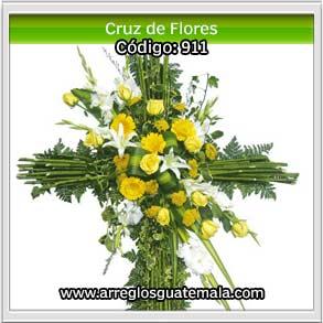 cruz elegante de flores para enviar pésame