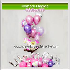 globos de nacimiento de niña que lleva el nombre elegido que va a llevar la nena