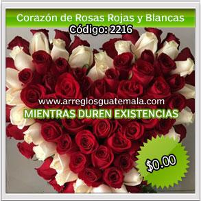 corazon de rosas rojas y rosas blancas para dia de la madre