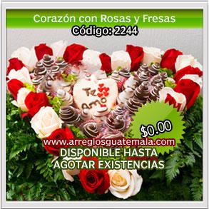 Corazon de rosas y fresas