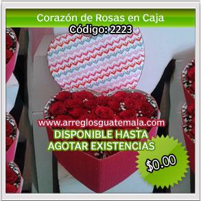 box de corazon de rosas en guatemala