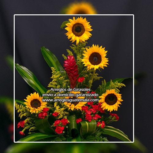arreglos florales en guatemala con girasoles a domicilio