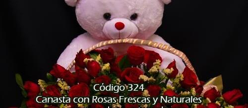 Canasta de Rosas con Peluche