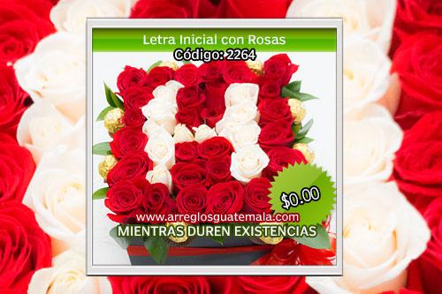 entrega de rosas a domicilio con letra inicial