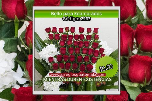 Envío de rosas para enamorados con la palabra i love you
