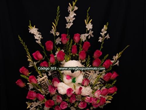 envio seguro de arreglos de rosas con peluche